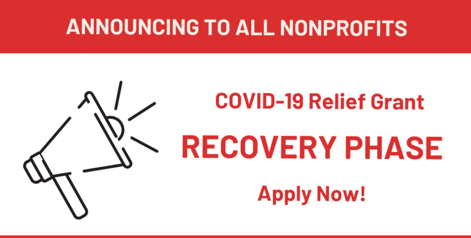 COVID-19 Relief Grant Recovery Phase Now Available