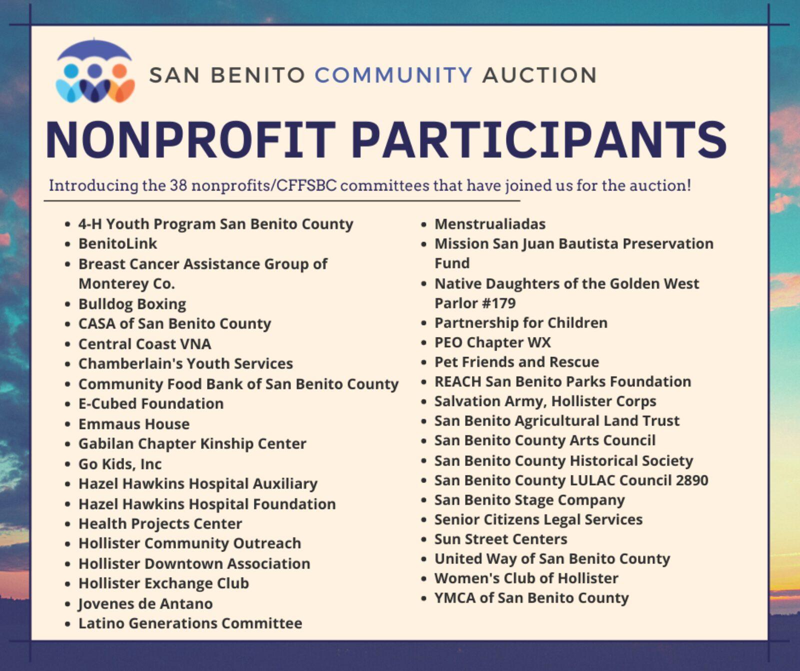 San Benito Community Auction Nonprofit Participants